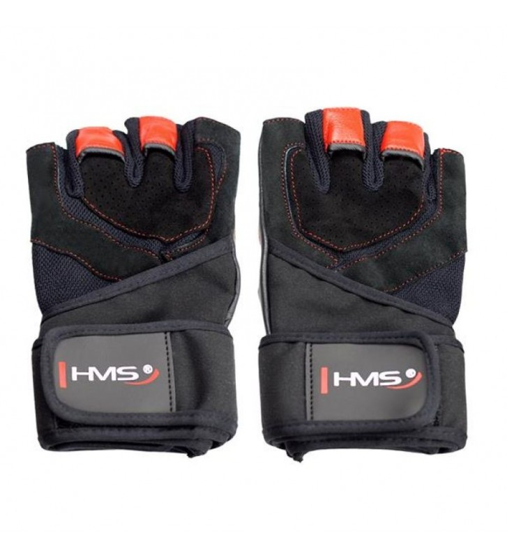 Rękawice na siłownię Black/Red HMS RST01 r.S