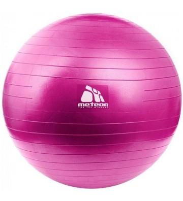Piłka gimnastyczna Meteor 55 cm z pompką różowa 31132